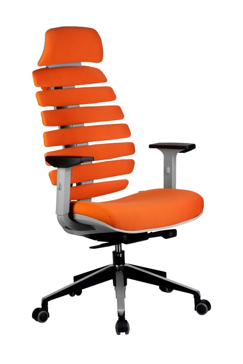 Кресло-RCH-Shark-серый-пластик-ткань-оранжевая-1