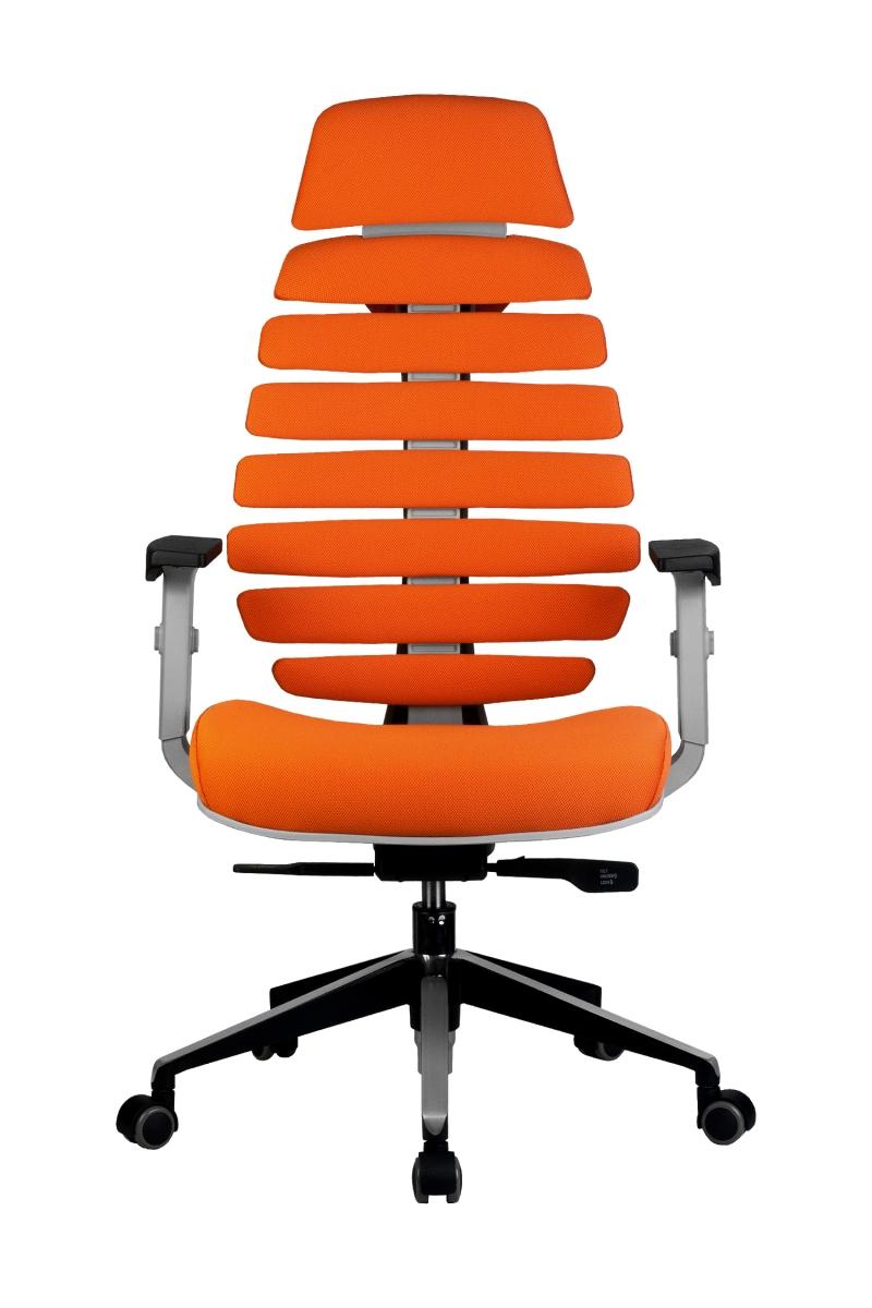 Кресло-RCH-Shark-серый-пластик-ткань-оранжевая-2