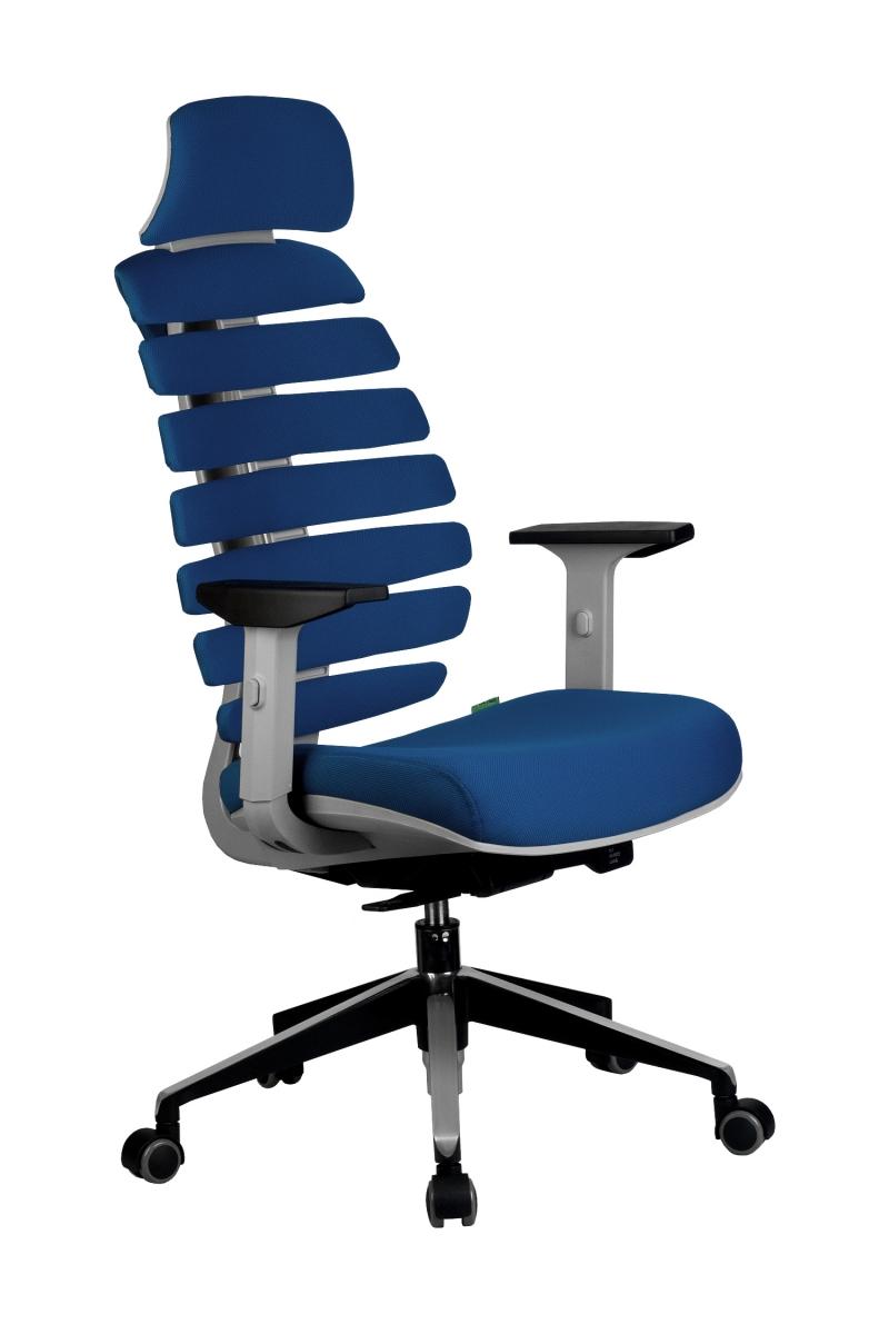 Кресло-RCH-Shark-серый-пластик-ткань-синяя-1